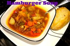 Recipe: Hamburger Soup (from Pioneer Woman) Baked Chicken Recipes, Beef Recipes, Soup Recipes, Cooking Recipes, Healthy Recipes, Recipies, Supper Recipes, Dessert For Dinner, Food Menu