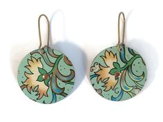 Recycled Tin Earrings, Reversible Mint Green and Coral Earrings,  Floral Vintage Style Earrings by TinMoonJewelryworks on Etsy. $34