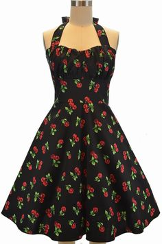 betty sun dress - cherry bomb in black
