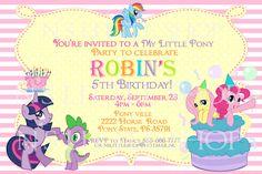 My Little Pony Inspired Birthday Invitation Card Customize Printable 1000 Via Etsy
