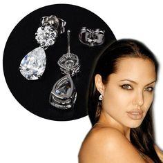Angelina Jolie Inspired Swiss Diamond Zirconia Drop Earrings