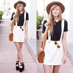 White overall skirt & black top