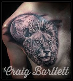 Black and Grey Lion by Craig Bartlett at Adorned Tattoo, Dorset UK. https://www.facebook.com/adornedtattoo.ashleycross