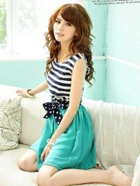 Sweet Dotted Belt Stripes Pleated Sleeveless Dress