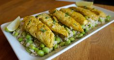 Curry Chicken Tenders with Edamame Rice - FlavorFinds.com