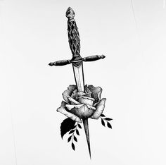 Knife And Rose Tattoo, Rose And Dagger Tattoo, Knife Tattoo, Sword Tattoo, Red Ink Tattoos, Rose Tattoos, Leg Tattoos, Arm Band Tattoo, Body Art Tattoos