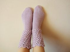 Luxurious Pale Purple Hand Knit Socks  Wool by GuestFromThePast