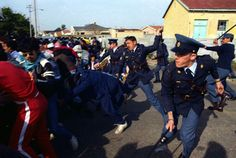 Police Officers Try to Control Protesters Apartheid, Nelson Mandela, Writing Inspiration, Police Officer, South Africa, Presidents, Captain Hat, Take That, Army
