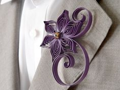 Amethyst Wedding Purple Wedding Boutonniere Violet by LoveAccented