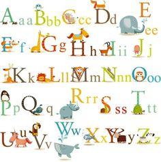 Animals Alphabet Baby Nursery Peel  Stick Wall Art Sticker Decals for Boys and Girls