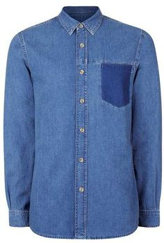 Vintage Look Patch Pocket Denim Shirt