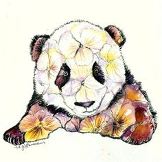 Custom Made Panda Painting Original Watercolor Panda Baby Pansy Artwork
