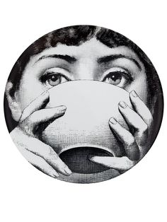 Shop Fornasetti Plate In White from stores. Printed black and white porcelain wall plate from Fornasetti featuring a woman drinking. Gravure Illustration, Illustration Art, Piero Fornasetti, Arte Cyberpunk, Plates On Wall, Collage Art, Art Inspo, Line Art, Tea Cups