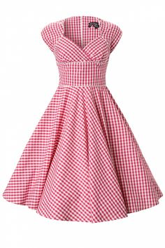 Bunny - 50s Lazy River swing dress Pink Gingham. #topvintage @TopVintage Retro Boutique Retro Boutique