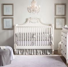 RH Baby & Child's Roselle Conversion Crib:Capturing the neoclassical spirit of the 19th-century Swedish antique that inspired it, our collection stands as a testament to the noble beauty of the Gustavian period. With a grand shape and architectural sensibility, each piece exhibits a signature blend of ornamentation and restraint.