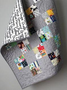 Modern Baby Quilt- Stroller Quilt- I Spy Quilt- Homemade Baby Quilt-One of a kind Quilt-Montessori Quilt- Quirky Baby Gift-Sensory Baby Gift Word back and color schemeModern Baby Quilt Stroller Quilt Scrappy Quilt Homemadecheckerboard quilt with four Strip Quilts, Scrappy Quilts, Easy Quilts, Small Quilts, Mini Quilts, Quilt Blocks, Bright Quilts, Quilt Baby, I Spy Quilt