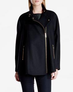 Zip front cape - Black   Jackets & Coats   Ted Baker
