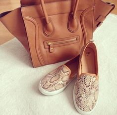 tan celine tote bag- wild print slip on shoes