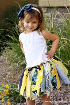 Fabric Scraps Tutu Skirt  Navy and Yellow MADE TO by mytutucute, $24.99