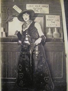 1924 studded chaps gun hipster gal | leave your horse outside saloon