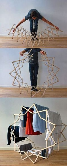 Star-shaped clothes horse by Aaron Dunkerton - Word Of Decor Smart Furniture, Furniture Design, Origami Furniture, Star Shape, Clothes Horse, Interior Design Living Room, Design Case, Design Design, Modern Design