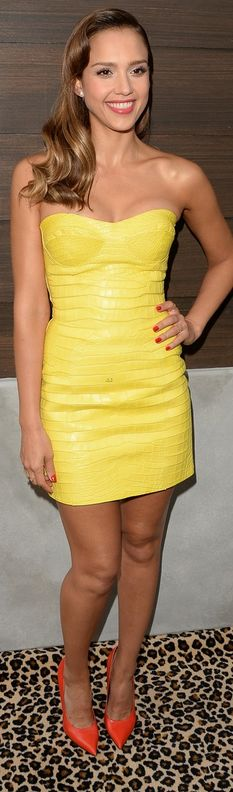 Who made  Jessica Alba's jewelry, yellow strapless dress and shoes that she wore in Culver City on June 8, 2013?