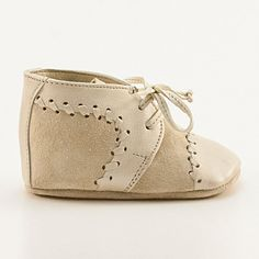 Baby boy shoes from stitched beige leather and suede by Vibys, $60.00