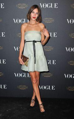 Alexa Chung in a greige Valentino dress
