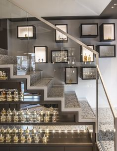 One of Norway's oldest and most exclusive perfume shop established in located in Oslo. We have remodeled this two story boutique giving it a new exclusive and modern expression by using materials such as terrazzo, corian and wood. Corian, Oslo, Terrazzo, Store Design, Stairs, Ceiling Lights, Lighting, Wood, Modern
