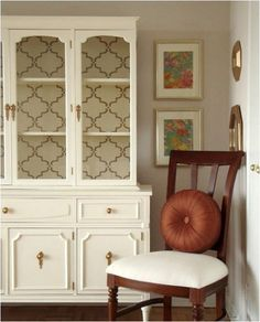 Goodwill hutch makeover- stencil instead of wallpaper. Looks gorgeous but like a BIG project! Trendy Furniture, Repurposed Furniture, Furniture Projects, Home Projects, Painted Furniture, Diy Furniture, Painted Hutch, Danish Furniture, Vintage Furniture