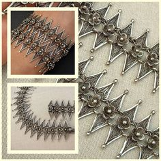 Antique Victorian Bracelet Sterling Silver Filigree Jewelry c.1910s.