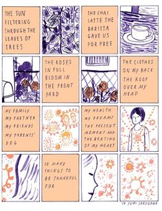 Comic book artist Yumi Sakugawa creates a comic about her intent to experience more gratitude every moment. Create A Comic, Comic Book Artists, Comic Books, Pretty Words, Word Art, Gratitude, Comic Art, Illustration Art, Doodles