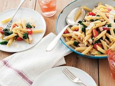 Start with a splash of chicken broth and wine, add fresh spinach and tomatoes, then top with Parmesan shavings. Toss with rotisserie chicken and warm pasta and there you have it: the simple pasta combo you'll be making all summer long, courtesy of The Pioneer Woman.