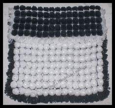 Turn Over Pom Pom Blanket Grey & White