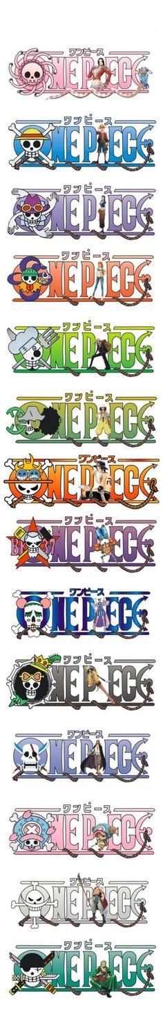 One piece ~ Pirate Skull Symbols -- Boa Hancock, Monkey D. Luffy, Nico Robin, Nami, Sanji, Usopp, Portgas D. Ace, Franky, Bon Clay, Brook, Shanks, Chopper, Whitebeard, and Roronoa Zoro: