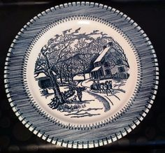 Vintage Country Life Currier & Ives by Knowles Dinner Plate Platter Blue 10 in #Knowles