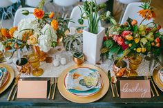 colorful 70s inspired tablescape with gold details