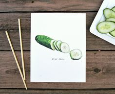 Stay Cool Cucumber Watercolor Food Illustration by foodfamilystory