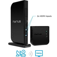 Nyrius Wireless Hdmi Input Transmitter & Receiver for Streaming HD Video from Cable, Bluray, Xbox, PC, Black Digital Cable, Digital Audio, 3d Video, Video Home, Cable Box, Thing 1, Wireless Speakers, Hd 1080p, Cool Gadgets