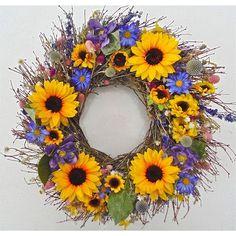 "Dried Flowers and Wreaths LLC 22"" Sunflower Bouquet Wreath"