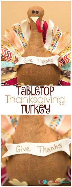 Add this fun Thanksgiving Turkey to your holiday decor. With colorful ribbon feathers and a festive banner this turkey is ready for all of your festivities. Fall Crafts, Holiday Crafts, Diy Crafts, Holiday Decor, Ribbon Retreat, Thanksgiving Diy, Ribbon Crafts, Fall Halloween, Tabletop