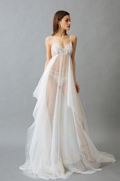 """Nightgown with Long Train """"Dea"""" - - Dessous transparent - Pretty Lingerie, Sexy Lingerie, Women Lingerie, Transparent Clothes, Transparent Dress, Dance Outfits, Sexy Outfits, Fashion Outfits, Jolie Lingerie"""