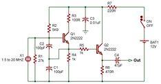 Crystal oscillator to Electronics Basics, Electronics Projects, Electronic Circuit Projects, Electronic Schematics, Ham Radio, Projects To Try, Smart Kitchen, Technology, Rain Wear
