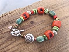 Coral and Silver Bracelet