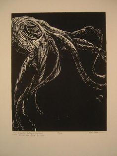 Octopus Block Print by ericvonzip