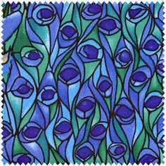 Blue Peacock Feathers Stained Glass Fabric 1 yard. $9.00, via Etsy.