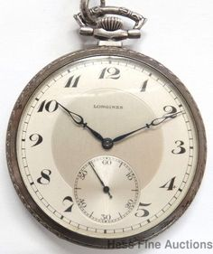Rare Solid Silver 1945 Longines Mens Pocket Watch w Original Papers Chain #Longines