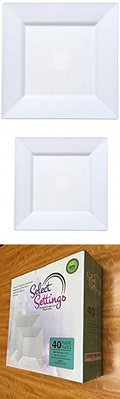 Elegant Plastic Plates Wholesale. 40 White Square Plastic Plates - Includes 20 Dinner Plates and : disposable square plastic plates - pezcame.com