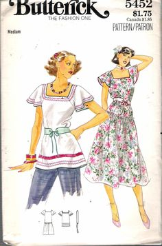 """Vintage 1970's Butterick 5452 Square Neckline Dress, Top and Belt Sewing Pattern Size Medium 12-14 Bust 34"""" - 36"""" by Recycledelic1 on Etsy"""