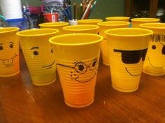 Lego party favor head cups, inspired by Pinterest party balloons